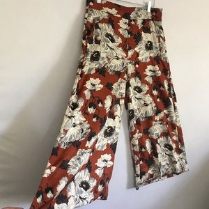 Zara Silky Floral Wide Leg Floral Pants L